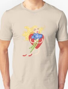 Woman with heart body flies with flowers in their hands Unisex T-Shirt