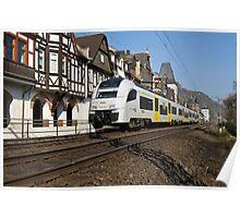 Regional train passing Bacharach, Germany Poster