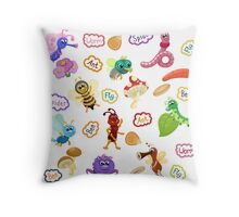 Insects and their names in cartoon style Throw Pillow