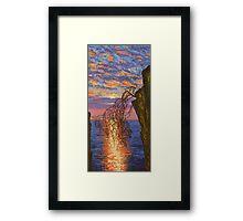 Sunset on cliff Framed Print