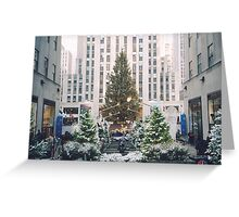 Rockefeller Center Holiday Tree and Decorations Under A Light Snow, New York Greeting Card