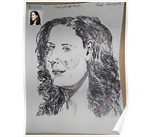 Female Head/Copy Internet Photo -(300312)- black biro pen/A4 Poster