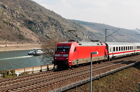 InterCity train passing Oberwesel, Germany by David A. L. Davies