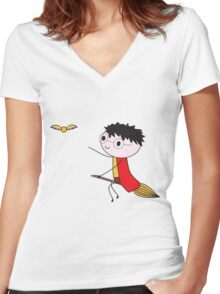 Harry Potter Quidditch Women's Fitted V-Neck T-Shirt
