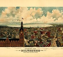 Panoramic Maps view of Milwaukee Wis Taken from City Hall tower The Gugler Lithographic Co by wetdryvac