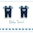 Baby boy twins card by Gillian Cross