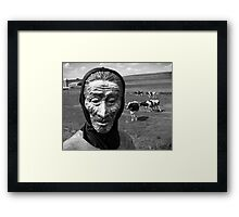 Boy Wearing Mask With Cows Framed Print