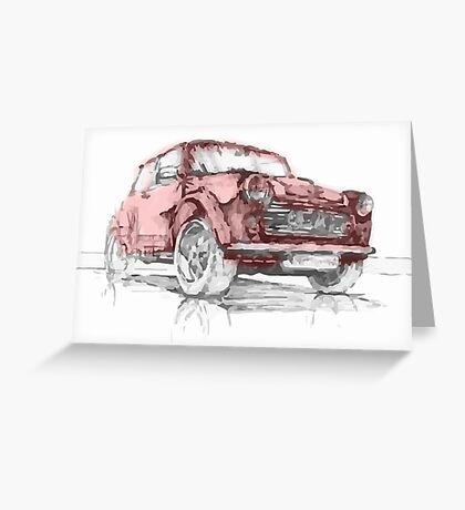 Classic Mini Cooper Car Greeting Card