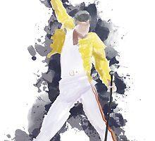 Freddie Mercury Splash Watercolor by Lidia Chía