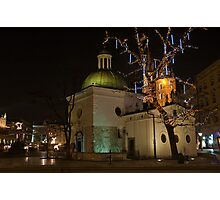 Church of St Wojciech Main Market Krakow by night Photographic Print