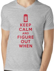 Keep Calm and Figure Out When (light t-shirt) Mens V-Neck T-Shirt