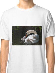 First swim! swan chick and male swan, Tinnahich, County Carlow, Ireland Classic T-Shirt
