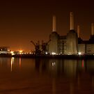 Battersea at night burnt umber by Dean Messenger