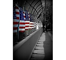 American Flags Over the Highway Photographic Print