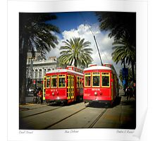 Red Trolly Cars On Canal Street Poster
