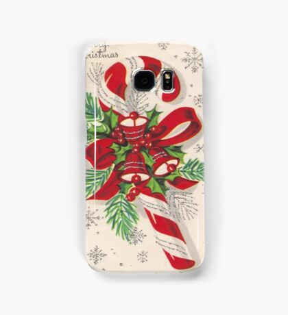 A Vintage Merry Christmas Candy Cane Samsung Galaxy Case/Skin