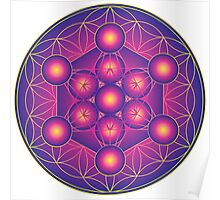 Metatron's Cube on Flower of Life Poster