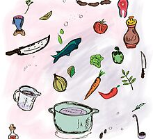 Cooking Sketch.  doodle sketch utensils hand-drawn with ink. by pashigorov