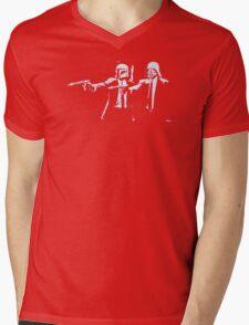 Cartoon Pulp Movie Fiction Parody Mens V-Neck T-Shirt