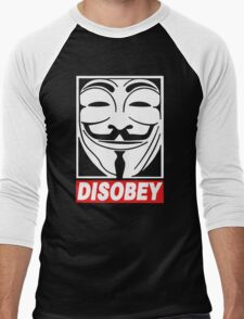 Disobey Anonymous Men's Baseball ¾ T-Shirt