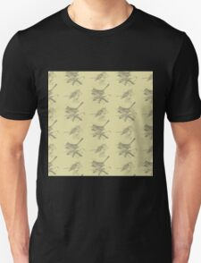 Cute vintage green gray birds pattern  T-Shirt