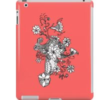 Modern black white coral hand drawn floral  iPad Case/Skin