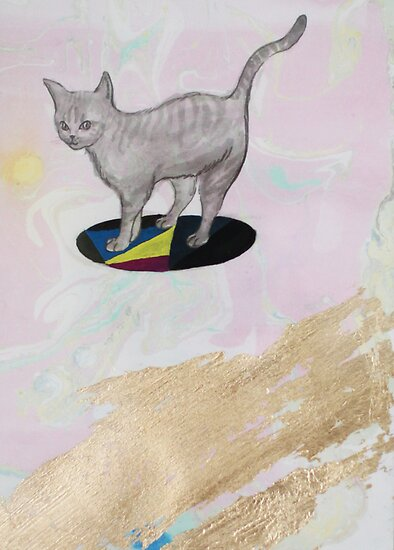 Batman the Cat on UFO by dreamsower