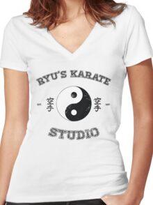Ryu's Karate Studio Women's Fitted V-Neck T-Shirt