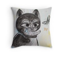Magik Black Cat and a Butterfly Throw Pillow