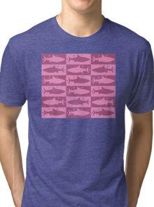 Shark array in pink Tri-blend T-Shirt