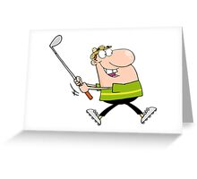 Man Swinging A Golf Club Greeting Card