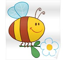 Bee Flying With A White Daisy Flower Poster
