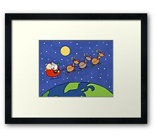Santa Waving And Flying Over Earth Framed Print