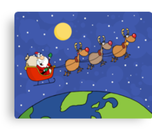 Santa Waving And Flying Over Earth Canvas Print
