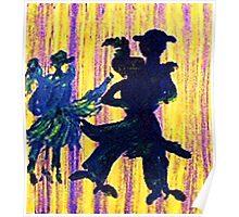 Couples dancing, watercolor Poster