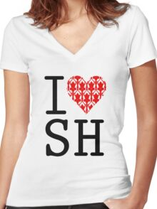 I LOVE SH (Red) Women's Fitted V-Neck T-Shirt