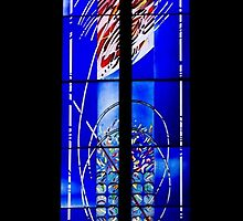 Abstract, Modern Stained Glass Window in an Ancient Church  by Georgia Mizuleva