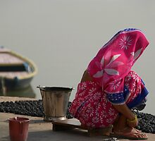 Woman in Pink Sari by Ganges by SerenaB