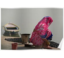 Woman in Pink Sari by Ganges Poster