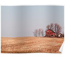 Red Barn overlooking a cornfield  Poster