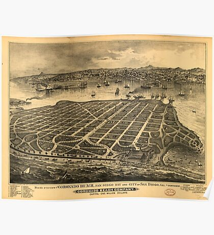 Panoramic Maps Bird's eye view of Coronado Beach San Diego Bay and city of San Diego Cal in distance Poster