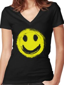 grunge smiley face Women's Fitted V-Neck T-Shirt