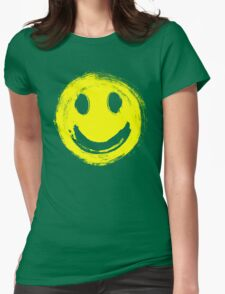grunge smiley face Womens Fitted T-Shirt