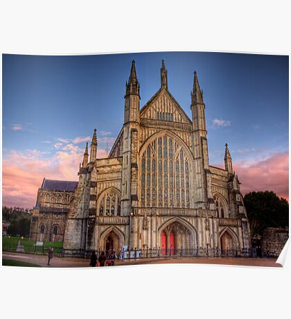 Winchester Cathedral  in the Sunset light Poster