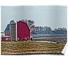 Red Barn with Silo Poster