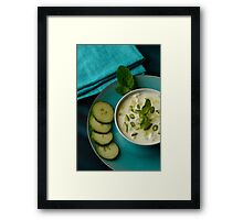 Restaurant Serving of Mint and Cucumber Raita Dip Framed Print