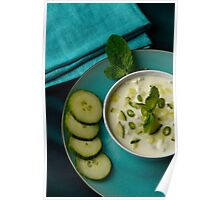 Restaurant Serving of Mint and Cucumber Raita Dip Poster