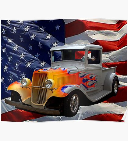 """1931 Ford """"Flamed"""" Hot Rod Pickup Truck Poster"""