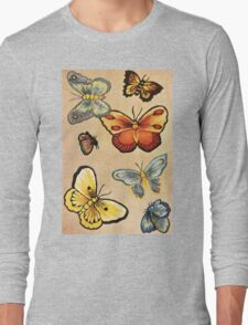 Pretty Butterflies textile design Long Sleeve T-Shirt