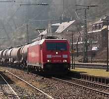 Freight train passing Bacharach, Germany by David A. L. Davies